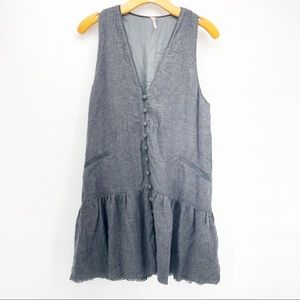 Free people button down sleeveless Vneck dress